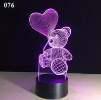 Urso do amor do coração novo dos desenhos animados lâmpada LED Forma Tabela USB 7 cores em mudança da bateria Lâmpada de mesa 3D Lamp novidade Night Light Miúdo do Natal Brinquedos do presente