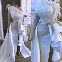 2020 branco Dividir Side Prom Vestidos com pena de um ombro Mermaid Sexy Plus Size Sleeve Evening vestidos de cristal frisado longo vestido de festa