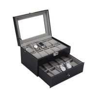 PU Leather Double Layers Watch Box 20 Grids Slots Watches Co...