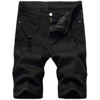 Черный рваные джинсы Мужской дизайнер Denim шорты до колен Slim Fit Большой размер Черный и белый Hole изношены Байкер Короткие джинсы