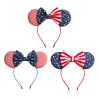 American flag Baby girls Bow Headband Kids Mouse ear Star st...