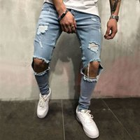 High Street Man Jeans Do Used Beggar Pants Knee Hole Slim Je...