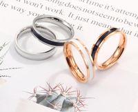 الأزياء التيتانيوم الصلب الدائري روز الذهب الحب خواتم فضة عاشق الدائري مصمم الاشتباك الرجال عارضة مجوهرات حلقة بسيطة هدية عيد