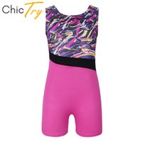 ChicTry Kids Glitter Splice Ballet Leotard Girls Professional Gymnastics Leotard Sports Bodysuit Children Stage Dance Costume