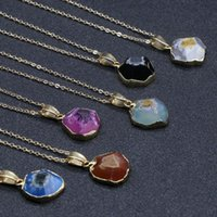Collar colgante de bisel irregular de ágata para mujeres de piedra natural chakra cadena de oro gargantilla collares mujeres niñas joyería regalos