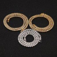 Hip Hop Bling Chains Jewelry Mens Iced Out Diamond Tennis Catena di Tennis Collana Bracciale Collana di alta qualità quadrata colorata Zircone Collanes18inch-24inch