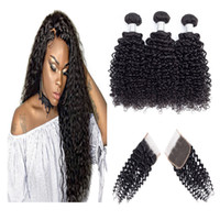 Brazilian Human Hair Extensions with 4x4 Free Part Hair Clos...