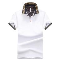 Nuova camicia calda di vendite di design di lusso maschile estate gira-giù colletto maniche corte in cotone camicia uomini Top
