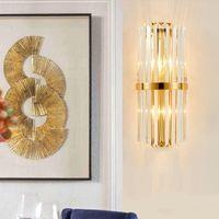 الحديثة الصمام الكريستال الجدار ضوء تصميم الإبداعية الذهب الديكور المنزل الإضاءة لاعبا اساسيا غرفة نوم الرواق الجدار الشمعدان مصباح