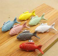 Hot Garden Home Crianças maçanetas de gaveta forma de peixe alças de cerâmica para a sala dos miúdos do armário de cozinha alças Cupboard puxadores para móveis Hardware