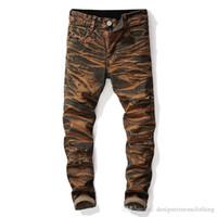 Gerade Designer Herren Jeans Holes Stretch Tie Dye Lange Herren Jeans mittlere Taille Regular Distrressed Männlich Kleidung