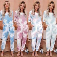 Tie tinte imprimido chándals traje mujeres niñas pijama conjunto de manga larga tops largas pantalones pijamas pjs sets loungewear ropa de dormir 2pcs trajes ljja4090
