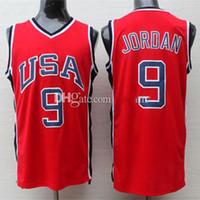 # 9 Michael MJ 1984 Красный Белый Ретро Джерси Олимпийская команда США США Ретро Баскетбол Джерси мужская сшитая майка