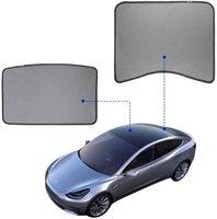 모델 3 테슬라 (SET 2) (상부 상판 + 후면) 호환 모델 3 유리 지붕 선 루프 양산 뒷 유리 양산