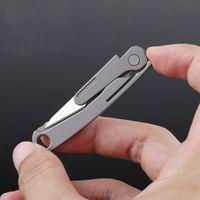 في الهواء الطلق TC4 التيتانيوم التعامل مع سلسلة المفاتيح البسيطة المحمولة سكينة EDC الجراحي السكين أداة القاطع مع مل 3pcs شفرات