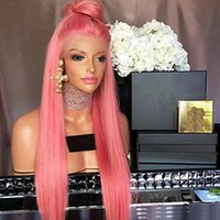 Fashion Cosplay Pastel Pink Long Silky Straight Lace Wig Hea...