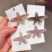 Dżetów Starfish Hairpins Klipy dla kobiet Barrette Moda Cystal Pinki do włosów Trendy Akcesoria do włosów