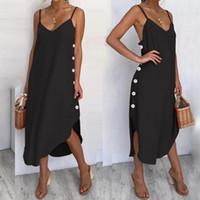 Günlük Elbiseler kadın Sundress Seksi Spagetti Sapanlar Yaz Plaj Elbise 2021 Celmia Gevşek Düğme Aşağı Asimetrik Artı Boyutu Vestidos