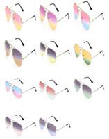 Fashion Femmes Men Classique Frog miroir Bichromatic Sunglasses Alliage Cadre Sun Lunettes Anti-UV Spectacles Lunettes Lunettes de lunettes A ++