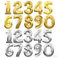 32 인치 헬륨 공기 풍선 번호 문자 골드 실버 풍선 풍선 생일 결혼식 장식 이벤트 파티 용품 모양의