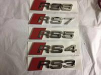 3DクロームアウディRS3 RS4 RS6 RS7 RS7 RS8  - マットブラックまたはシルバーロゴブーツバッジエンブレム