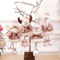 Árvore de Natal Decoração Pingente de Santa pendurado ornamentos boneca Elk rena Cláusula Boneco de pelúcia Xmas Home Decor 4 Estilos HH9-2482