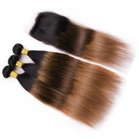 # 1B / 4/30 Black Roots Brown to Auburn Ombre 3Bundles rectos con cierre 4Pcs Lot Indian Human 3Tone Ombre teje con cierre