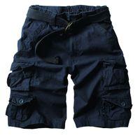 2020 Sommer-heißen Qualitäts Mens Cargo-Shorts Multi-Tasche Baumwolle Männer kurze Hosen Workout Bermuda Shorts (Free Belt)