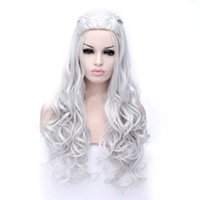 Long Silver White Curly Wigs Cosplay Synthetic Blonde Braide...