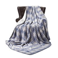 152cm * 230cm franela a cuadros manta caliente suave mantas rayadas doble alfombra de felpa de lana Ropa de cama Cabo Envolver GGA2672