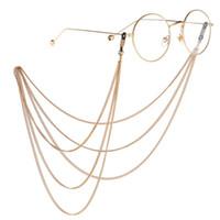 Moda quente Óculos de sol Corrente Multi-camadas Correntes de ouro e prata Óculos Quadro Correntes Pendurar óculos Link 12 Pcs / Lot