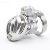 Из нержавеющей стали мужской целомудрие короткий петух клетка съемный ПА замок кольцо пениса целомудрие устройство связывание сдержанность секс-игрушки для мужчин