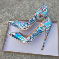 Freie Verschiffenart und weise Frauen pumpt Designer Dame-Absatz Blau Python Schlange Spitzschuh Stiletto Heels brandneue Dame 12cm 10cm 8cm
