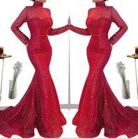 Kırmızı Dantel Mermaid Abiye Suudi Arapça Afrika Yüksek Boyun Şeffaf Uzun Kollu Abiye Giyim 2020 Uzun payetli Abiye