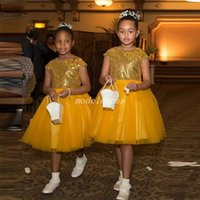 Sequined Short Flower Girl Dresses For Weddings Jewel Cap Sl...