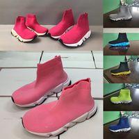 Cabritos al por mayor Zapatos de lujo S triple niño grande diseñador de zapatillas de deporte parís Triple S niños transpirable tejido elástico zapato corriente calcetín para el niño