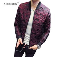 ABOORUN New Jacquard Bomber Giacche Uomo Luxury Wine Red Black Grey Party Jacket Outfit Club Bar Cappotto Uomo Casaca Hombre 4XL R1478
