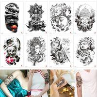 Faux Bouddha noir temporaire Design Tattoo Bouddhisme Femmes Hommes Lotus Flower dragon démon autocollants papier de transfert Autocollants Body Tattoo étanche