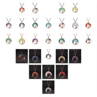 2018 Tree of life pendant Amethyst Rose Crystal Necklace Gemstone Chakra Jewelry Valentine's Mothers Day Gifts Women Christmas Gift For Her