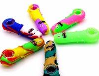 vidrio tubo de pepino mezcla de color de silicona; de dibujos animados cuke resistente a los golpes de limpiar; mini-lavable fácil de llevar; portátil