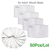 PM2 0.5 필터 종이 안티 안개 입 안티 먼지 활성탄 필터 종이에서 주식 50PCS 마스크 / 부지 마스크