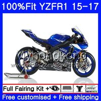 Injektionskroppar för Yamaha Stock Blue Black YZF-1000 YZFR1 2015 2016 2017 243HM.33 YZF R 1 1000 YZF-R1 YZF1000 YZF R1 15 16 17 Fairing Kit