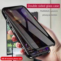 8P i7 iPhoneXS MAX karşıtı peep telefon kılıfı XR manyetik Adsorpsiyon çift taraflı cam iphone 11pro max için her şey dahil koruyucu kapak