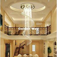 Oda Lambası Çift Merdiven Uzun Kristal Avize Aydınlatma Yemek Modern Kristal Sarkıt Decora Sprial shapped Villa Lobby Lounge