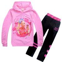 Jojo Сива одежды наборы 4-12T Kids Girls Пуловер толстовки + брюки двухсекционный набор для высоты 110-150cm детей дизайнер одежды девочек KSS401