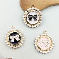 Coreano piccolo rotondo perla arco ciondolo charms accessori per capelli accessori gioielli accessori a catena chiave ciondolo in lega di fai da te accessori