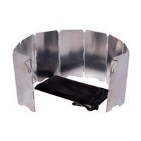 9 Placas Estufa Plegable Parabrisas Acampar Al Aire Libre Cocina BBQ Estufa de Gas Aleación de Aluminio Viento Pantalla Escudo Equipo de Camping