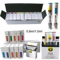 Cartuchos de TKO Embalaje Vape Vape Vape 0.8ml 1 ml Cerámica DAB Pen Wax Vaporizador E Cigarrillos Vape Carts 510 Atomizador de aceite de batería