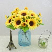 プラスチック花人工的な偽の花束シミュレーション7ヘッド太陽の花ひまわり牧畜服の家の居間の装飾の花