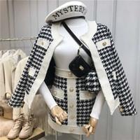 Новая осень и зимняя ретро однобортное плед твидовые пальто + высококалийная короткая юбка из двух частей набор женщин шерстяной юбки